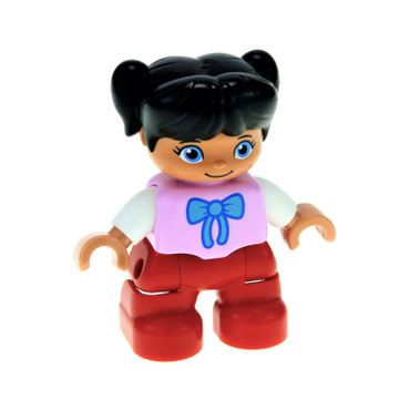 1 x Lego brick Duplo Figure Lego Ville Child Girl Red Legs Bright Pink Top with Bow Tie Black Hair with Ponytails 47205pb032