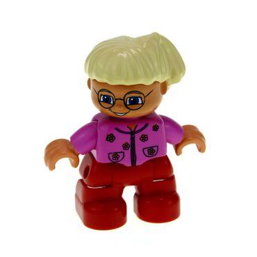 1 x Lego brick Duplo Figure Lego Ville Child Girl Red Legs Dark Pink Top With Flowers Light Blond Hair With Ponytail Glasses 47205pb006