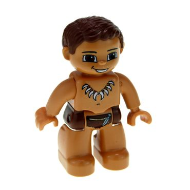 1 x Lego brick Duplo Figure Lego Ville Male Flesh Legs Reddish Brown Hips Tooth Necklace Pattern Reddish Brown Hair (Caveman) Set 5598 47394pb098