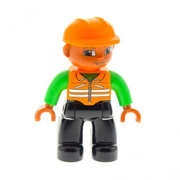 1 x Lego brick Duplo Duplo Figure Lego Ville Male Black Legs Orange Vest Orange Construction Helmet Dark Skin 47394pb002