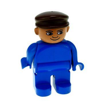 1 x Lego brick Duplo Figure Male Blue Legs Blue Top Brown Cap 4555pb180