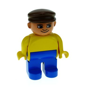 1 x Lego brick Duplo Figure Male Blue Legs Yellow Top Brown Cap with White in Eyes Pattern 4555pb086