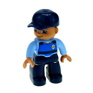 1 x Lego brick Duplo Figure Lego Ville Male Dark Blue Legs Light Blue Top with Life Vest and Badge Dark Blue Cap 47394pb106