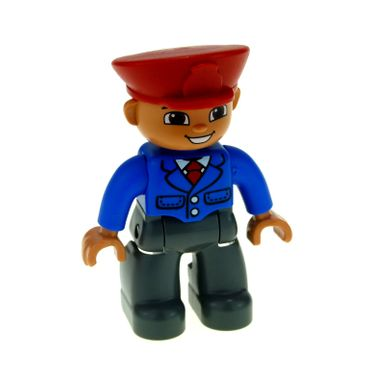 1 x Lego brick Duplo Figure Lego Ville Male Dark Bluish Gray Legs Blue Jacket with Tie Red Hat Smile with Teeth (Train Conductor) 47394pb165