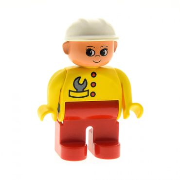 1 x Lego brick Duplo Figure Female Red Legs Yellow Top with Red Buttons & Wrench in Pocket Construction Hat White 4555pb077