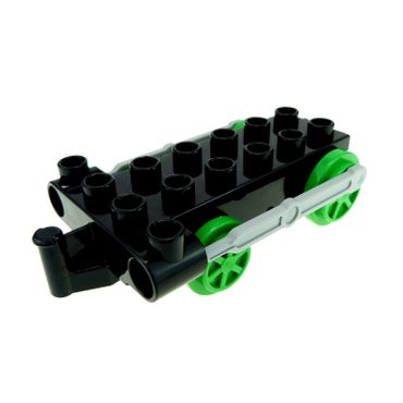 1 x Lego brick Black Duplo Train Steam Engine Chassis with Light Bluish Gray Drive Rod and 4 Bright Green Wheels for Set Percy 5543 5556 4580c05