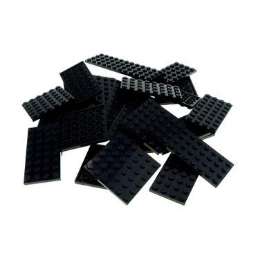 25 x Lego System City Platten Basic Bau Farbe schwarz verschiedene diverse Grössen Platte zufällig gemischt
