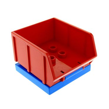 1 x Lego brick blue Duplo Tile Modified 4 x 4 with 4 Center Studs and Hinge with red Duplo Tipper Bucket Bed 31068 31088
