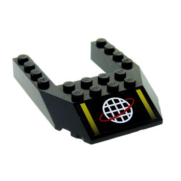 1 x Lego brick black Wedge 6 x 8 Cutout with Alpha Team White Grid with Red Ring Logo and Two Yellow Stripes Pattern (Sticker) 32084pb002