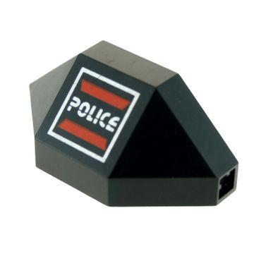 1 x Lego brick Black Panel 3 x 3 x 6 Corner Convex with Space Police I Logo Pattern left Set 6886 2468pb02