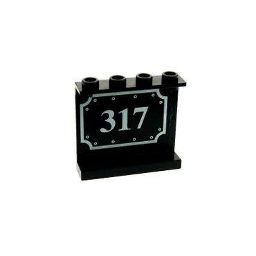 1 x Lego brick Black Panel 1 x 4 x 3 with Silver 317 Pattern (Sticker) - Set 10205 4215bpb34
