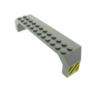 1 x Lego brick Light Gray Brick Arch 2 x 14 x 2 1/3 with Black and Yellow Stripes on Ends Pattern (Stickers) - Set 6456 30296pb01