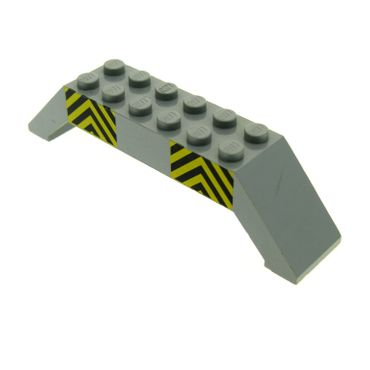 1 x Lego brick light gray Slope 45 10 x 2 x 2 Double with Black and Yellow Danger Stripes Pattern 30180pb03