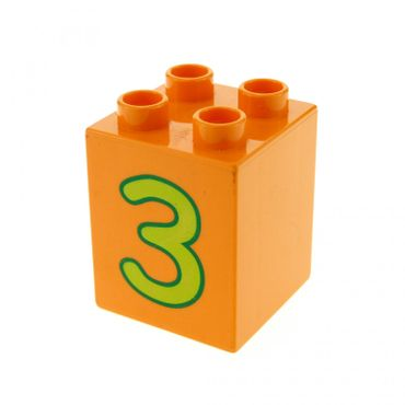 1 x Lego brick Orange Duplo, Brick 2 x 2 x 2 with Number 3 Lime Pattern for Set Play with Numbers 5497 31110pb023