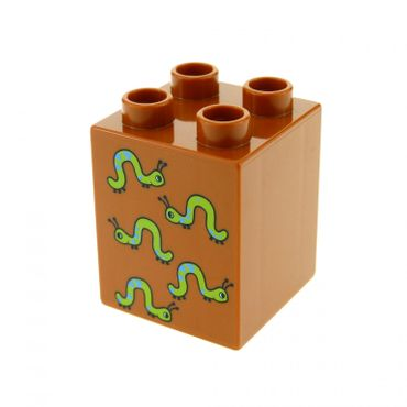 1 x Lego brick Dark Orange Duplo, Brick 2 x 2 x 2 with Five Worms Pattern Pattern for Set Play with Numbers 5497 31110pb035
