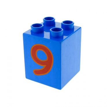1 x Lego brick Blue Duplo, Brick 2 x 2 x 2 with Number 9 Red Pattern for Set Play with Numbers 5497 31110pb029