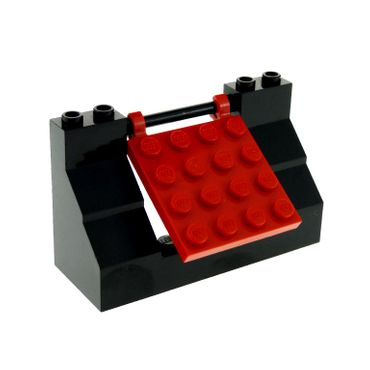 1 x Lego brick Black Boat Deck Brick 8 x 3 x 4 Railing with Red Plate Modified 4 x 4 with Clips Horizontal for Set 7075 47998 47993