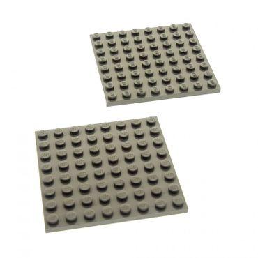 2 x Lego System Bau Platte 8x8 alt-dunkel grau 8 x 8 Star Wars Harry Potter 4482 4728 4720 7417 41539