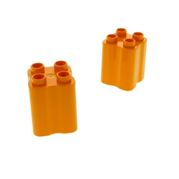 2 x Lego Duplo brick Orange Duplo Brick 2 x 2 x 2 with Indented Sides (Tree Trunk) 31061