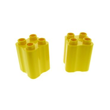 2 x Lego Duplo brick yellow Duplo Brick 2 x 2 x 2 with Indented Sides (Tree Trunk) 31061