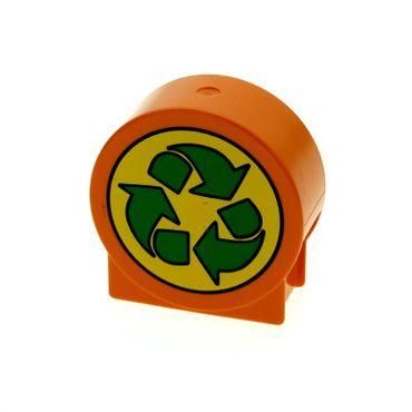 1 x Lego Duplo Motivstein rund orange 1x3x2 bedruckt mit Recycling Pfeil grün Schild Bild Bau Stein für Set 4659 41970px4