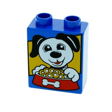 1 x Lego brick Blue Duplo, Brick 1 x 2 x 2 with Dog and Food Bowl Pattern for Set 4631 5656 4066pb369