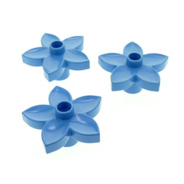 3 x Lego brick Medium blue Duplo Plant Flower with 1 Top Stud 6510