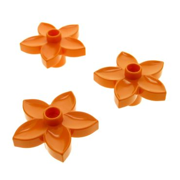 3 x Lego brick orange Duplo Plant Flower with 1 Top Stud 6510