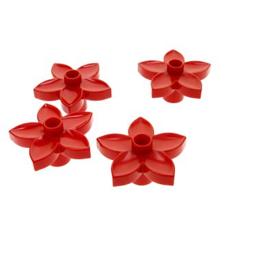 4 x Lego brick red Duplo Plant Flower with 1 Top Stud 6510