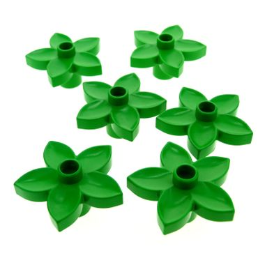 6 x Lego brick bright green Duplo Plant Flower with 1 Top Stud 6510