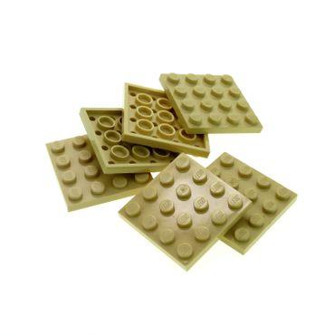 6 x Lego System Bau Platte beige tan 4x4 Quadrat für Set Star Wars 6210 10221 75084 79003 41110 21005 4113919 3031