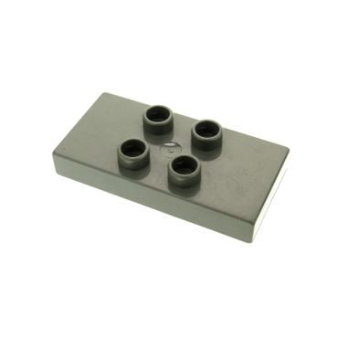 1 x Lego brick dark gray Duplo Tile, Modified 2 x 4 x 1/2 (Thick) with 4 Center Studs for Set 2738 6413