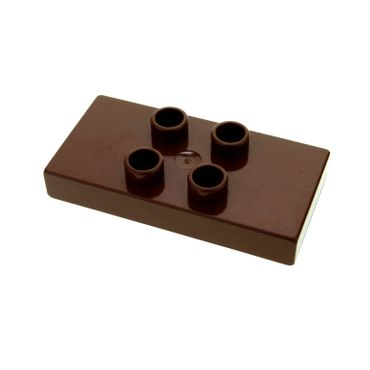 1 x Lego brick reddish brown Duplo Tile, Modified 2 x 4 x 1/2 (Thick) with 4 Center Studs for Set 4776 6413