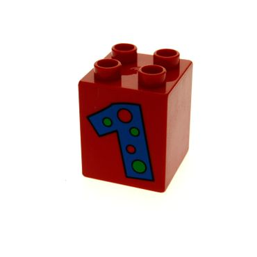 1 x Lego brick red Duplo, Brick 2 x 2 x 2 with Number 1 with Polka Dots Pattern for Set 2253 2224 31110pb009