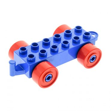 1 x Lego brick blue Duplo Car Base 2 x 6 with red Wheels and Closed Hitch End 4883c02