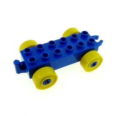 1 x Lego brick blue Duplo Car Base 2 x 6 with yellow Wheels and Open Hitch End 2312c01