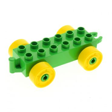 1 x Lego brick bright green Duplo Car Base 2 x 6 with Yellow Wheels with Fake Bolts and Open Hitch End for Set 10565 10597 10558 11248c01