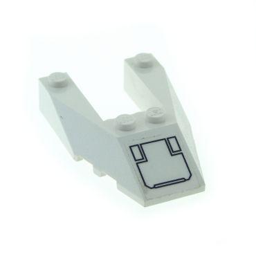 1 x Lego System Schrägstein weiss 6x4 Keil Stein Wedge mit Sticker für Set Exo-Force 7700 6153bpb01