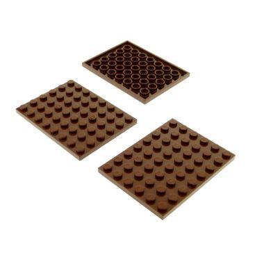 3 x Lego System Bau Platte 6x8 reddish rot braun 6 x 8 für Set Star Wars 8780 75827 21108 70145 75904 71006 75059 4223729 3036
