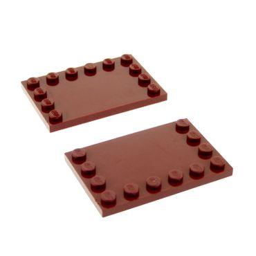 2 x Lego System Bau Platte dunkel rot weinrot 4x6 Fliese mit Noppen am Rand für Set Star Wars 8088 70810 10215 10240 8019 7679 7674 4526907 6180