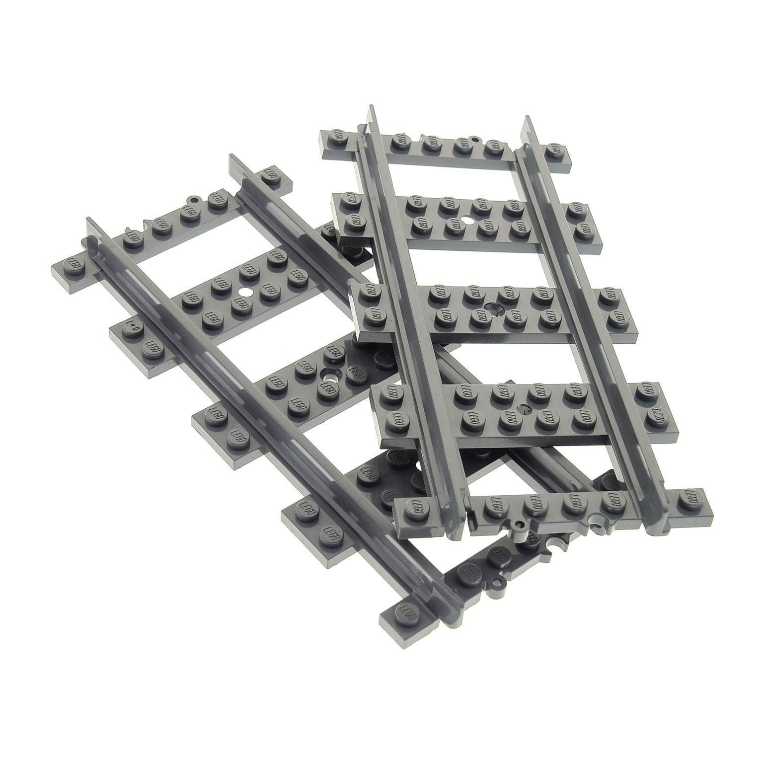 2 X Lego System Schiene Neu Dunkel Grau Gerade Eisenbahn Schienen