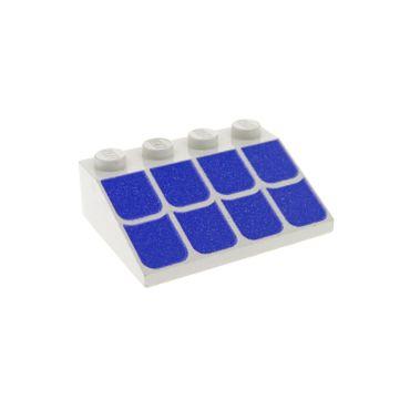 1 x Lego System Dachstein weiss 3 x 4 33° schräg bedruckt mit Dachziegel lila violette für Set 4161 3297p04