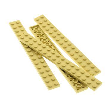 4 x Lego System Leiste Basic Bau Platte Stein beige tan 2x16 Set Star Wars 7131 76052 71040 8416 4767 7191 7194 4270425 4282
