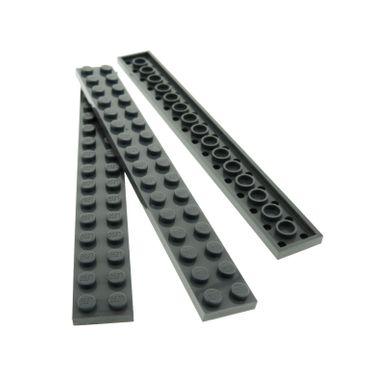 3 x Lego System Leiste 2x16 Basic Bau Platte Stein neu-dunkel grau 2 x 16 für Set Star Wars 10175 7632 8672 7888 7249 10187 4282