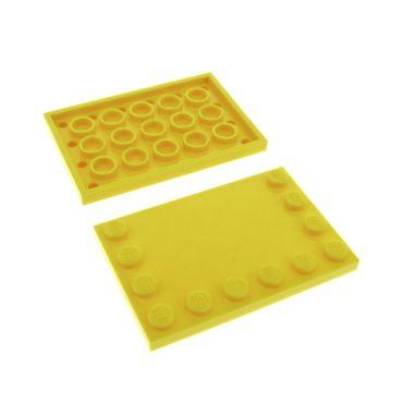 2 x Lego System Bau Platte gelb 4 x 6 Fliese mit Noppen am Rand 4x6 für Set Star Wars 75157 7685 8459 7596 7249 6180