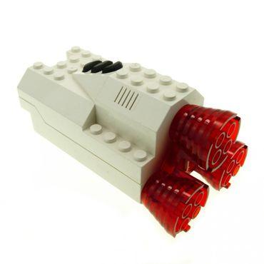1 x Lego brick cream White Electric Light & Sound Rocket Engine Battery Box with White Cover (no pattern) and Trans-Red Electric Light & Sound Rocket Engine 6454 6456 30354 30353 30351c01