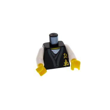 1 x Lego brick  Minifigs  Ninjago Sensei Wu - Black Outfit Torso Ninjago Gold Asian Characters Front and Dragon Back Pattern / White Arms / Yellow Hands for njo026 973pb0926c01