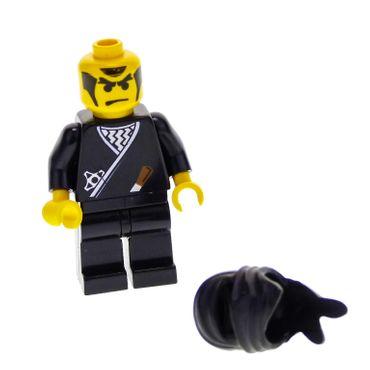 1 x Lego System Figur Ninja Mann Black Torso schwarz bedruckt Wurfmesser Kimono Ninja Maske Tuch Kapuze cas048
