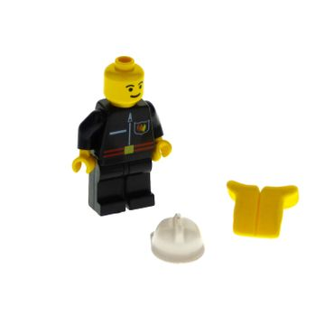 1 x Lego brick  Minifigs  Town Jr. Fire - Flame Badge and Straight Line, Black Legs, White Fire Helmet, Life Jacket firec025