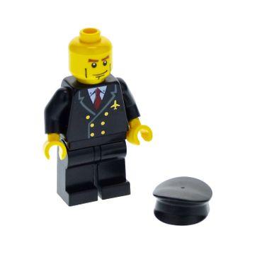 1 x Lego System Figur Flughafen Mann Pilot Torso Jacke schwarz 6 Knöpfe gold Krawatte rot Grübchen Mütze schwarz für 3181 air043